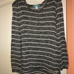 Grey & White Stripped Sweater with Elbow Patches